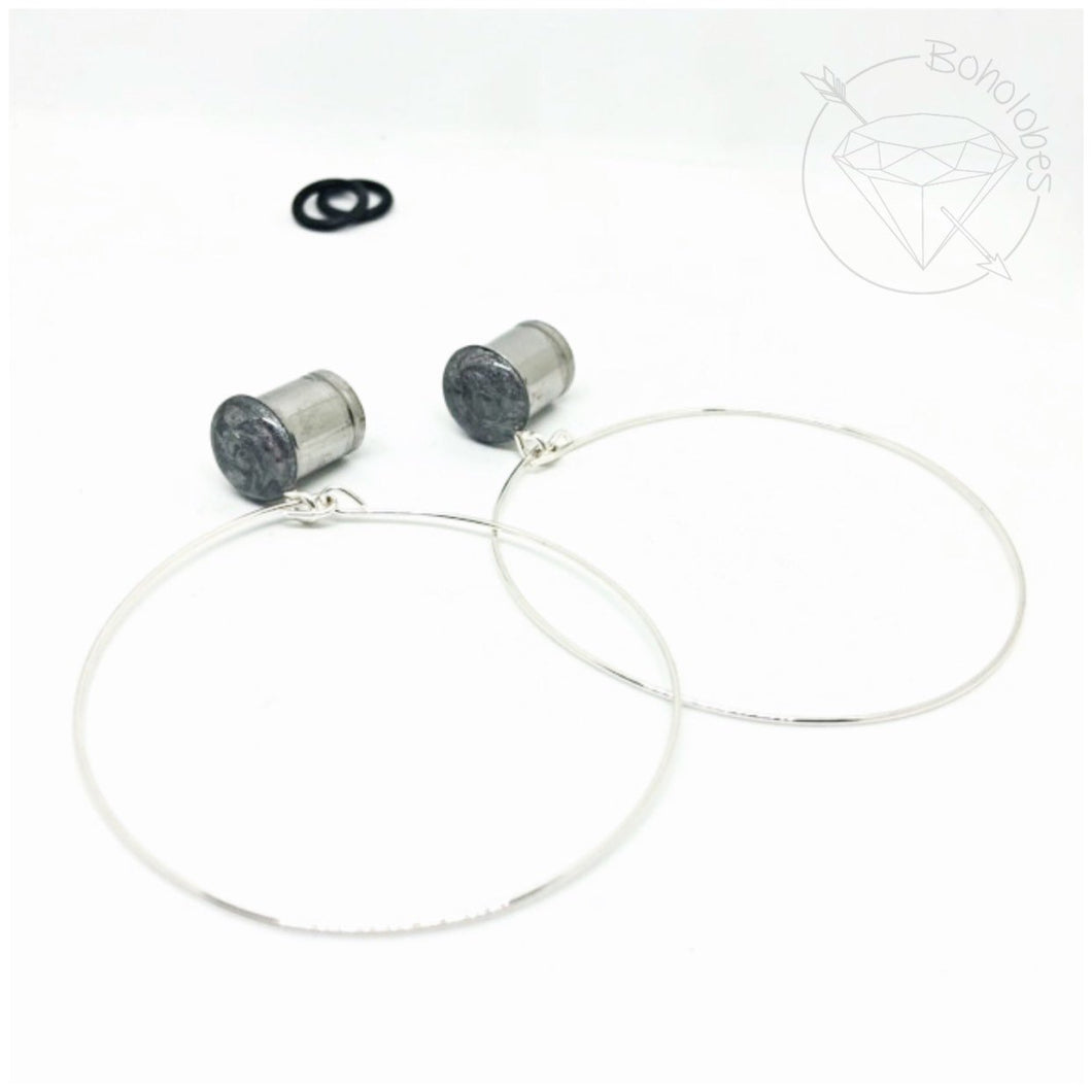 Silver hoop plugs glitter shimmery dangle plugs: 2g 1g 0g 00g 7/16