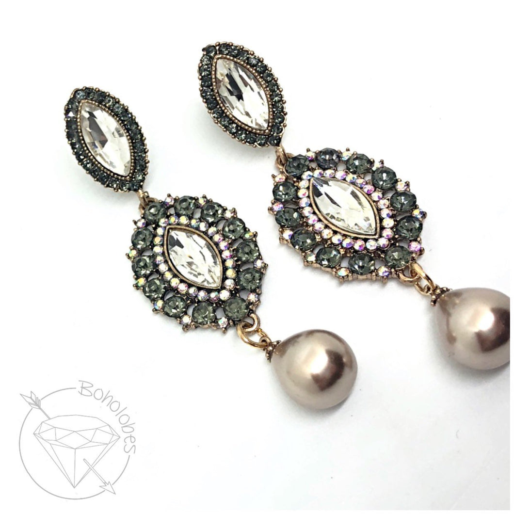 Rhinestone crystal Bohemian pearl gauges crystal dangle hider : 2g 1g 0g 00g
