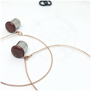 Rose gold hoop plugs glitter shimmery dangle plugs: 2g - 1""