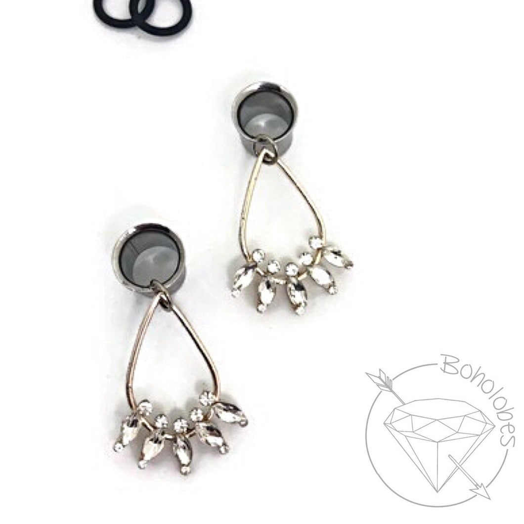 Stainless steel tunnels dangle plugs: 4g - 1