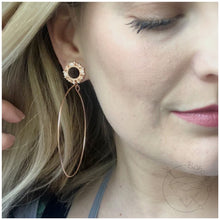 Load image into Gallery viewer, Rose gold hoop plugs cz rhinestone dangle plugs: 2g - 5/8""