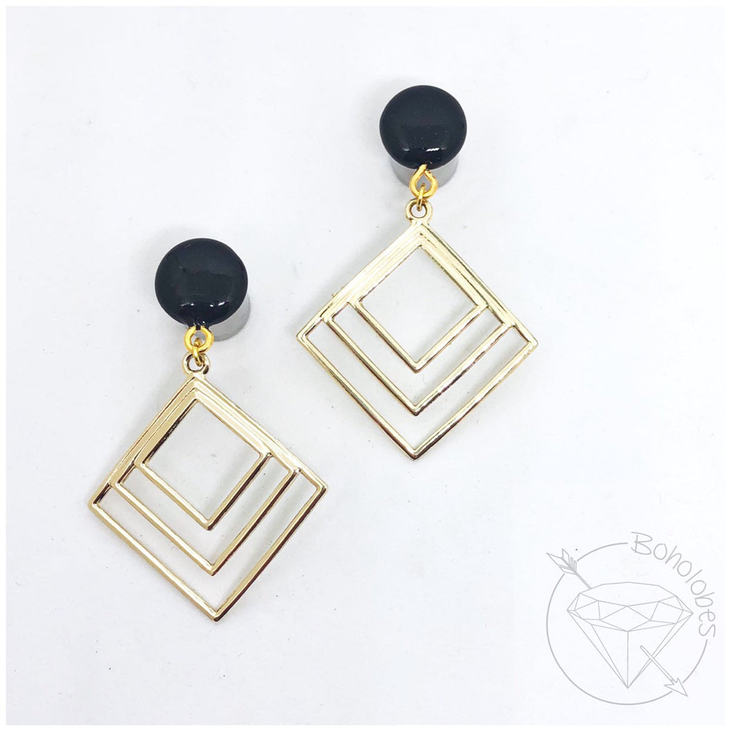 Gold toned geometric plugs dangle plugs: 2g - 1