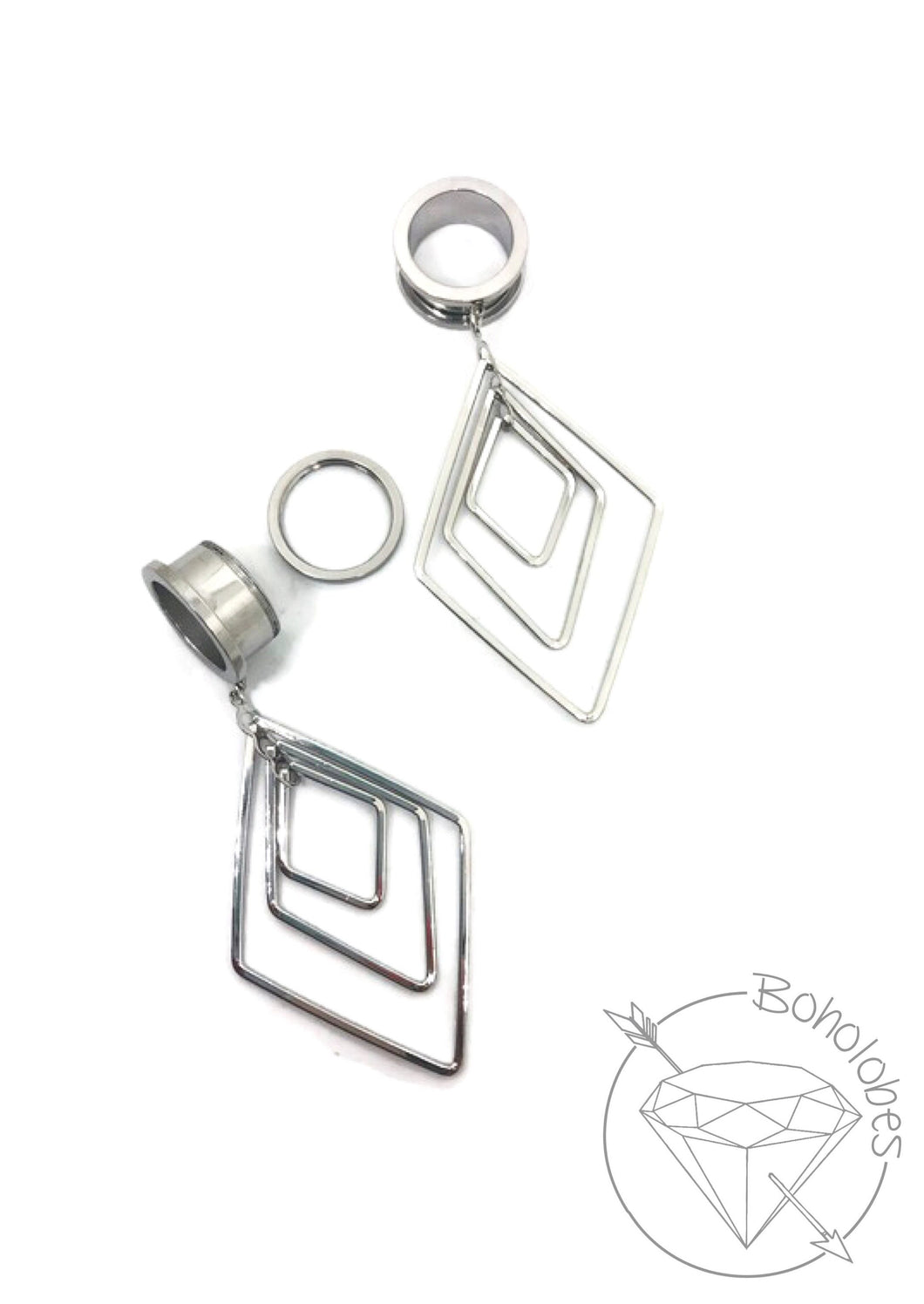 Stainless steel geometric plugs glitter shimmery dangle plugs: 2g - 1