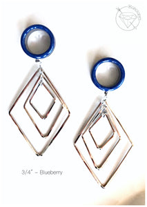 Stainless steel geometric plugs glitter shimmery dangle plugs: 2g - 1""