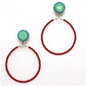 Turquoise and red beaded hoop plugs gauges tunnels 6g - 7/16""