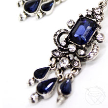 Load image into Gallery viewer, Sapphire crystal rhinestone tunnels dangle plugs: 0g - 1""