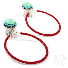 Load image into Gallery viewer, Turquoise and red beaded hoop plugs gauges tunnels 6g - 7/16""