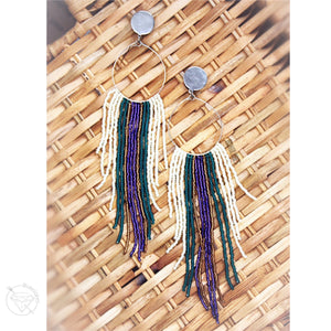 Hoop fringe bohemian tassel tribal dangle plugs gauges 2g - 1""