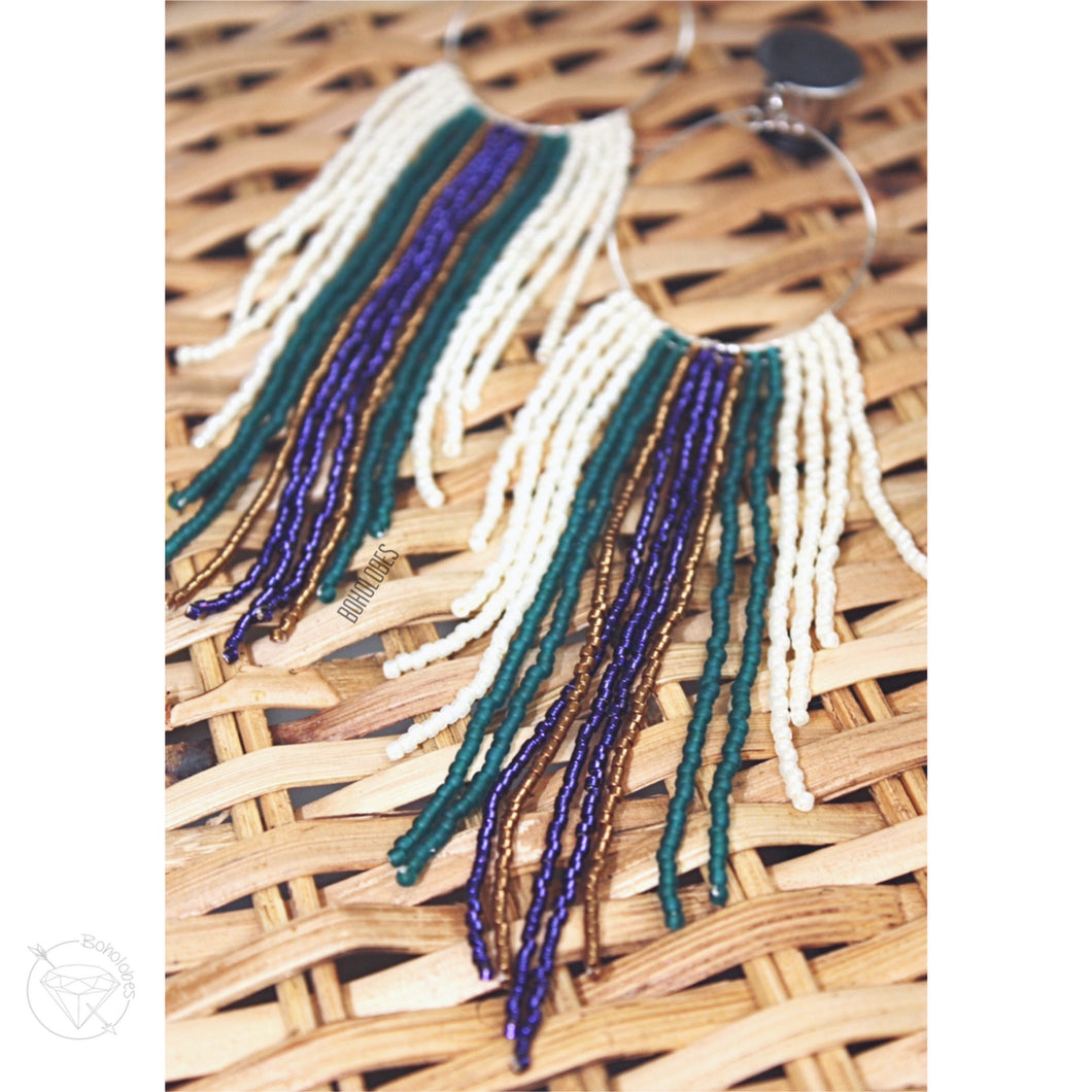 Hoop fringe bohemian tassel tribal dangle plugs gauges 2g - 1