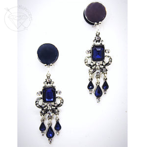 Sapphire crystal rhinestone tunnels dangle plugs: 0g - 1""