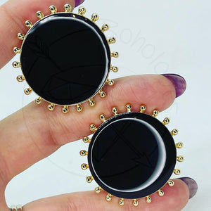 Black and Gold toned plugs gauges tunnels  25mm 28mm