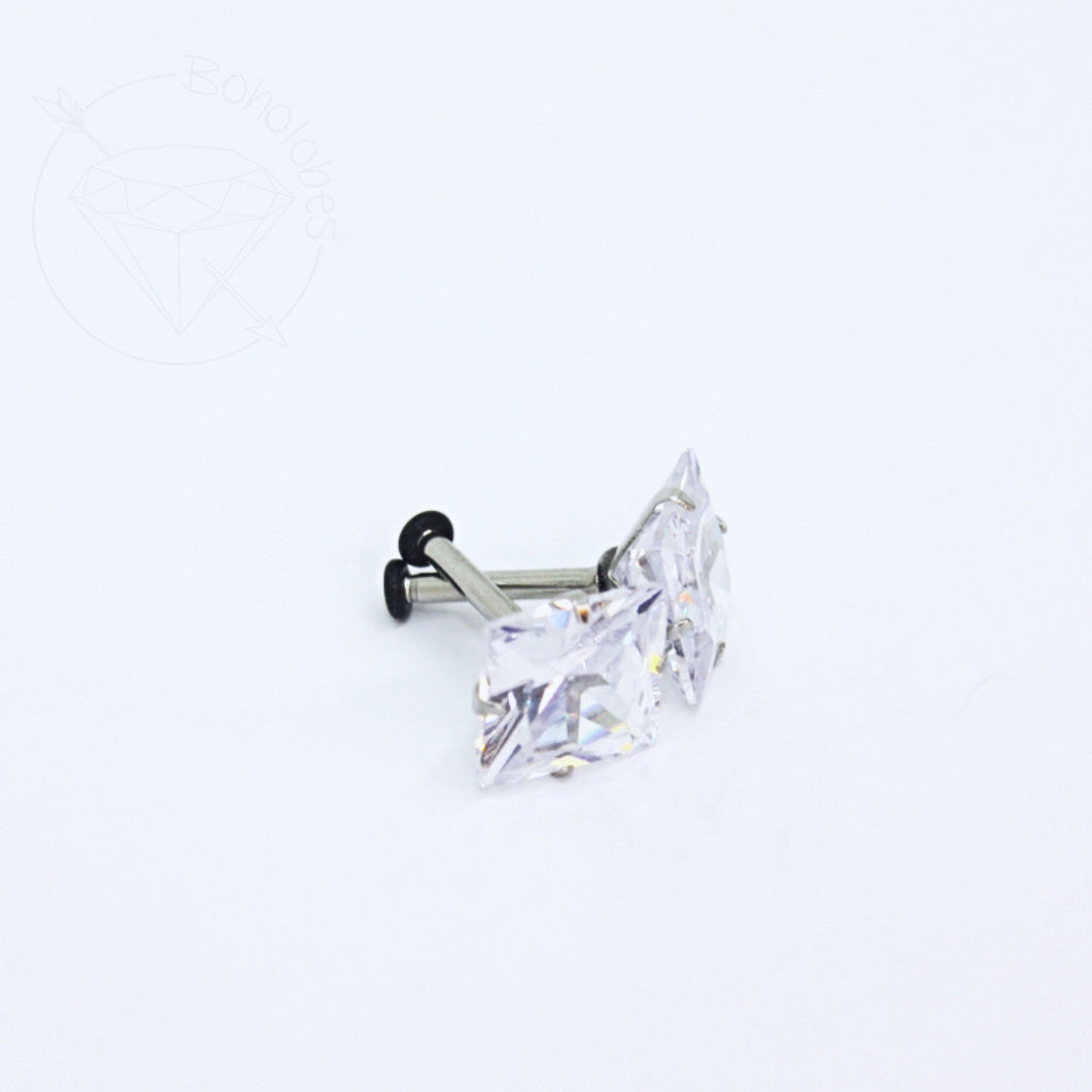 Large prong setting crystal stainless steel plugs / tunnels for gauges / stretched ears Sizes: 14g, 12g, 10g, 8g