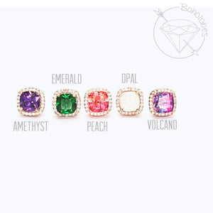 Crystal plugs Square CZ rose gold halo stud wedding plugs for gauged or stretched ears: Sizes 4g 2g 1g 0g 5mm 6mm 7mm 8mm