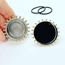 Load image into Gallery viewer, Black and Gold toned plugs gauges tunnels  25mm 28mm