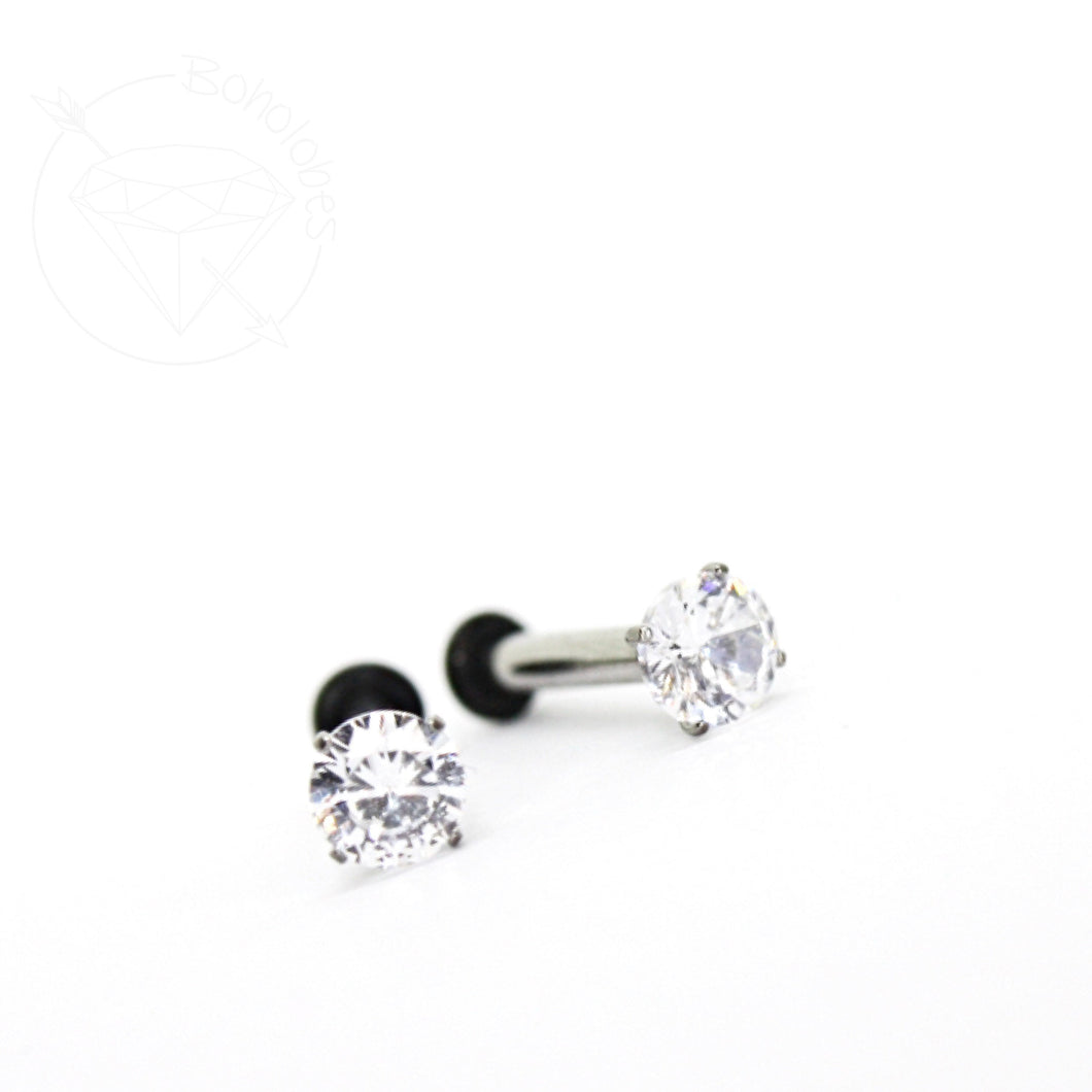 Tiny prong setting crystal stainless steel plugs / tunnels for gauges / stretched ears Sizes: 14g, 12g, 10g, 8g