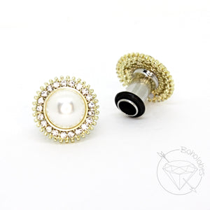 Diamond and pearl crystal gold plugs wedding plugs gauges sizes: 4g 2g 1g 0g