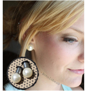 Pearl ball plugs wedding plugs single flare plugs tunnels 14g - 3/4""