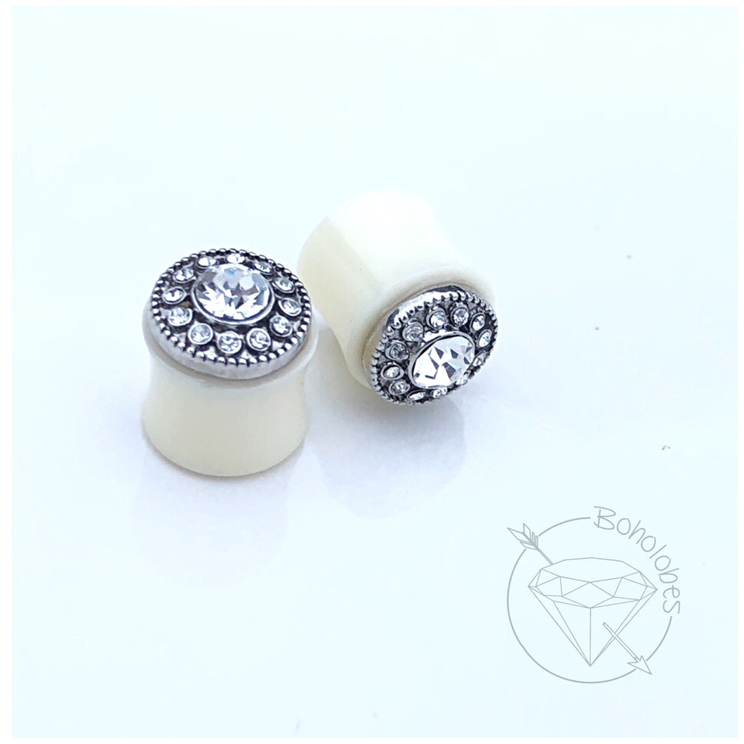 Ready to ship Crystal button crystal rhinestone plugs wedding fancy plugs tunnels gauges 1/2