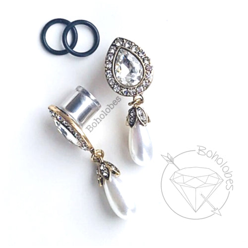 Yellow Gold plugs water drop crystal plugs and pearl wedding fancy plugs tunnels gauges 4g - 1/2