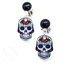 Load image into Gallery viewer, Glitter plugs sugar skull dangle plugs: 16g - 1""