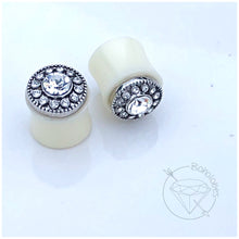 "Load image into Gallery viewer, Ready to ship Crystal button crystal rhinestone plugs wedding fancy plugs tunnels gauges 1/2"" (12mm)"