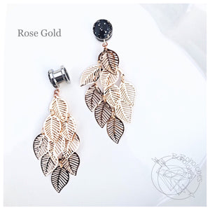 Black gold flake vintage leaf leaves foliage dangle plugs for gauged ears: 16g-1""