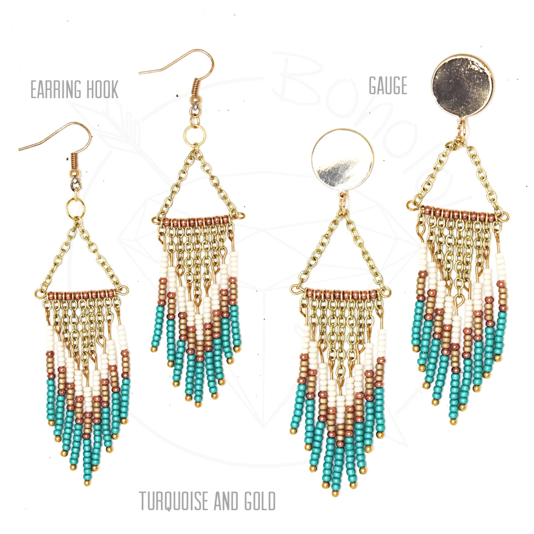 Gold fringe bohemian tassel chandelier tribal dangle plugs gauges 6g - 1