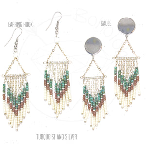 Gold fringe bohemian tassel chandelier tribal dangle plugs gauges 6g - 1""