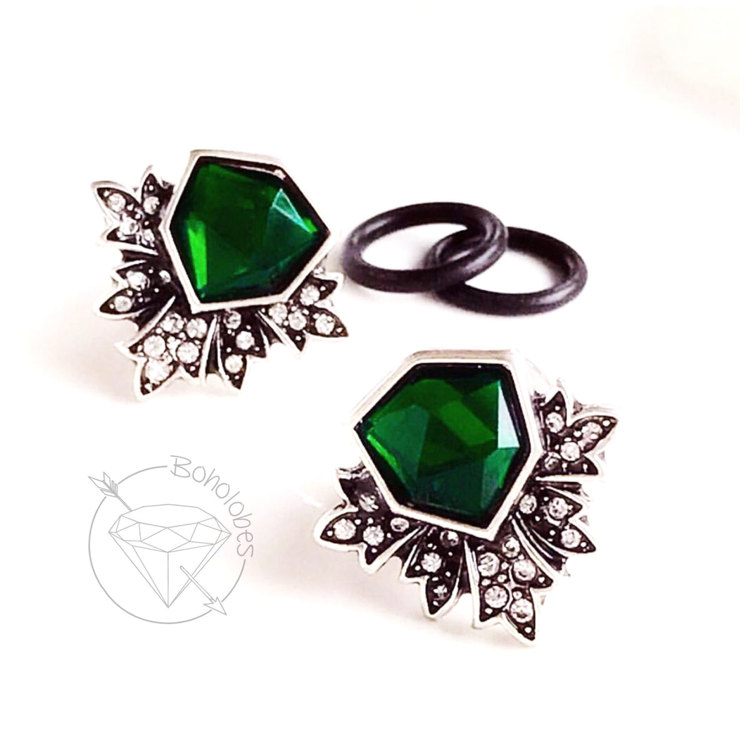 White gold silver art deco green gem rhinestone plugs gauges: 6g - 5/8