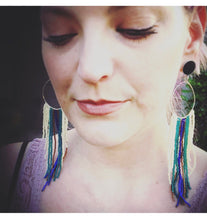 Load image into Gallery viewer, Hoop fringe bohemian tassel tribal dangle plugs gauges 2g - 1""