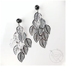 Load image into Gallery viewer, Black gold flake vintage leaf leaves foliage dangle plugs for gauged ears: 16g-1""