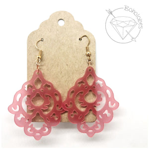 Earrings acrylic filigree scalloped diamond