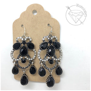 Earrings black and clear rhinestone dangles