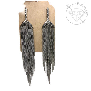 Earrings crystal metal chain fringe tassel dangles