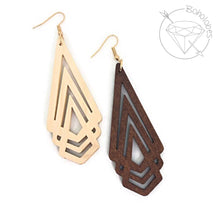 Load image into Gallery viewer, Earrings wood art deco minamilist