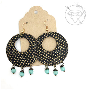 Earrings black polka dot metal dangles