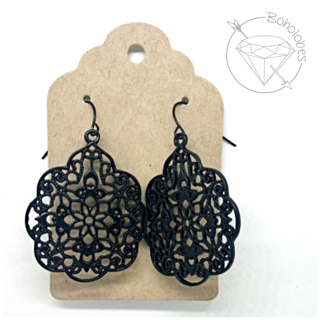 Earrings black metal filigree