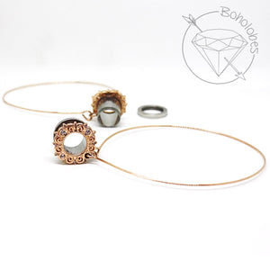 Rose gold hoop plugs cz rhinestone dangle plugs: 2g - 5/8""