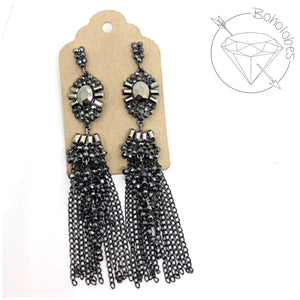 Earrings gothic crystal metal chain fringe tassel dangles