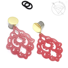 Load image into Gallery viewer, Dangle plugs Lightweight filigree statement gold blank plugs 8g - 9/16""