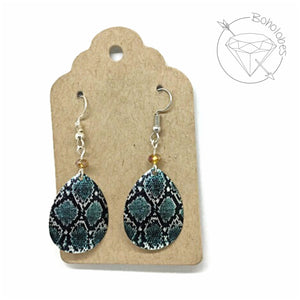Earrings teal and silver toned snake pattern metal dangles