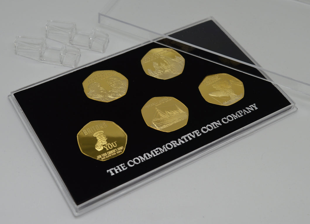 Full Set of 20th Century News/Events 24ct Gold Commemoratives in Presentation/Display Case