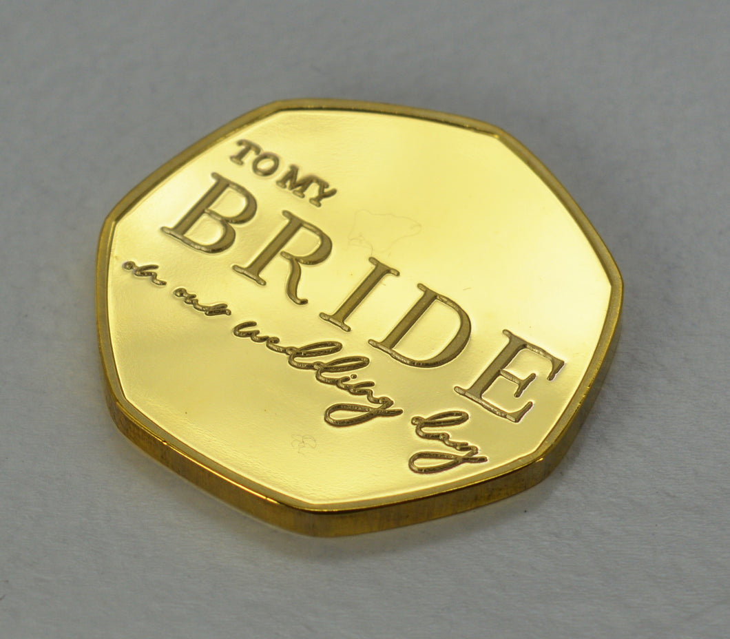 To My Bride, Wedding Day - 24ct Gold
