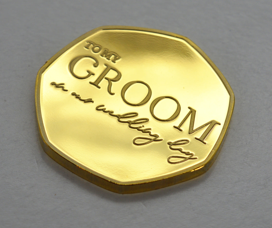 To My Groom, Wedding Day - 24ct Gold