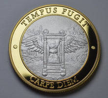 Load image into Gallery viewer, Memento Mori 'Tempus Fugit' - Silver & 24ct Gold
