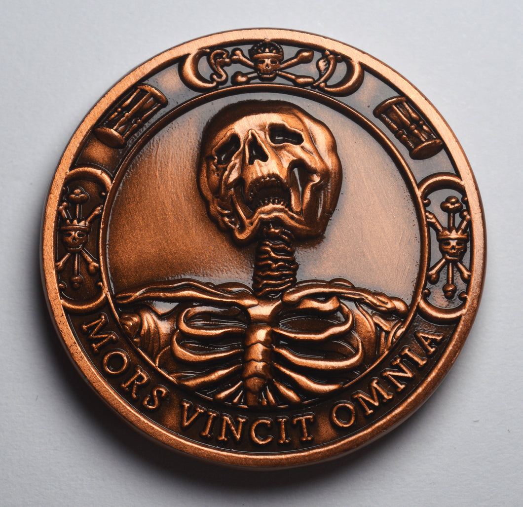 Memento Mori Skull, Hourglass & Tulip' - Antique Copper