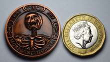 Load image into Gallery viewer, Memento Mori Skull, Hourglass & Tulip' - Antique Copper