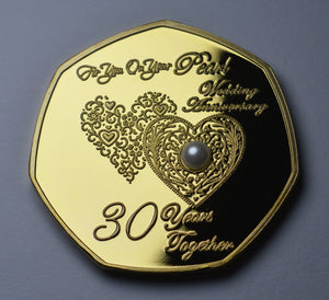 On Your 30th Wedding Anniversary with Pearl Gemstone - 24ct Gold