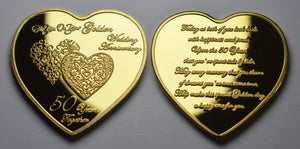 On Your 50th Wedding Anniversary - Gold Heart