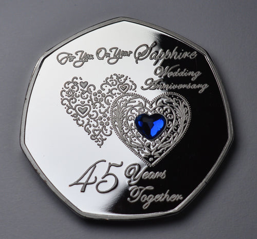 On Your 45th Wedding Anniversary with Sapphire Gemstone - Silver